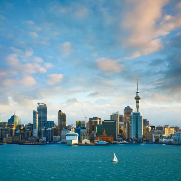 New Zealand Auckland Skyline at Sunset stock photo