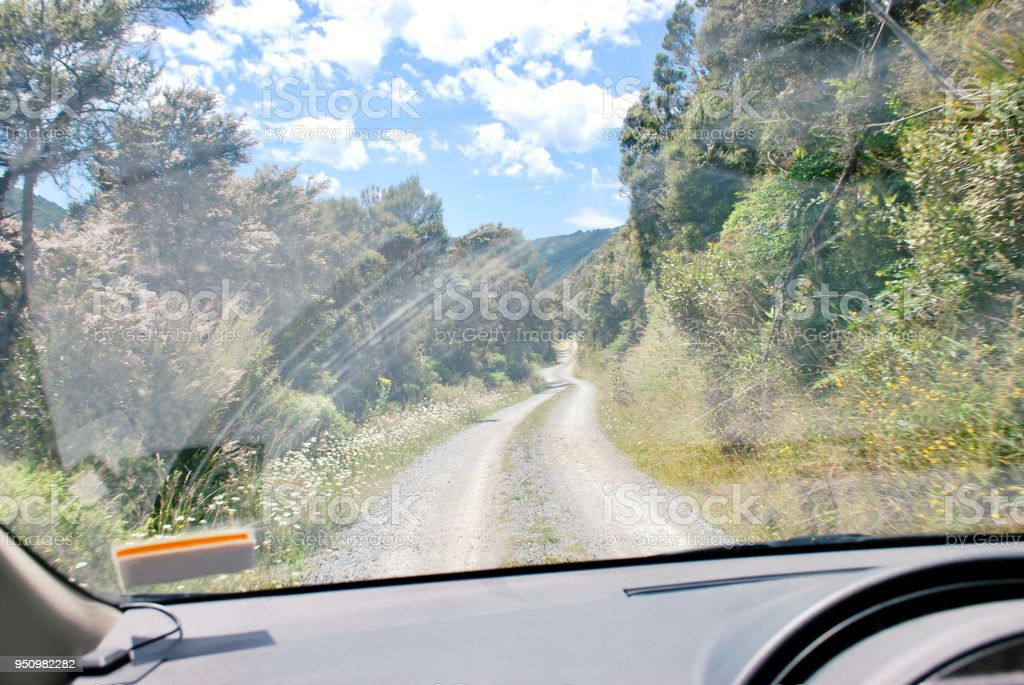 New Zealand Backcountry Roads and Landscape stock photo