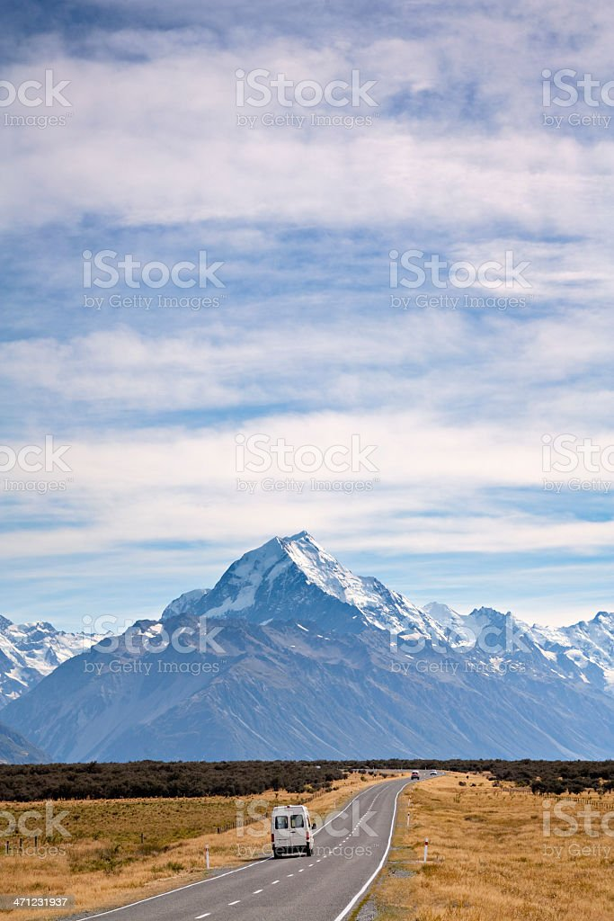New Zealand Campervan Approaching Aoraki/Mount Cook,Vertical stock photo
