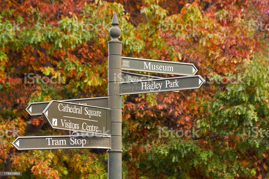 New Zealand Christchurch Hagley Park Sign Autumn stock photo