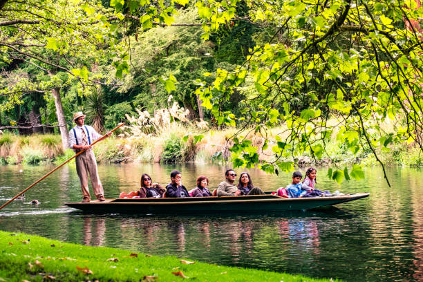 New Zealand, Christchurch 2018, DEC 22 - New Zealand, Christchurch, People are enjoing on the boat on the river in Botanic garden.. avon colorado stock pictures, royalty-free photos & images
