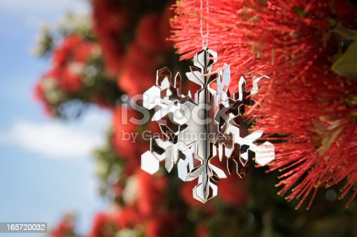A silver Christmas snowflake decoration in a flowering Pohutukawa Tree (aka New Zealand Christmas Tree) in December, during summer for the Southern Hemisphere.
