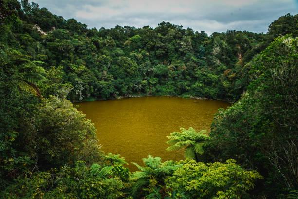 New Zealand colored lakes national park Wai-O-Tapu stock photo