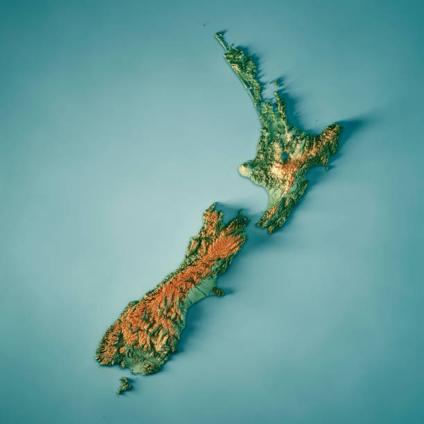 New Zealand Country 3D Render Topographic Map stock photo