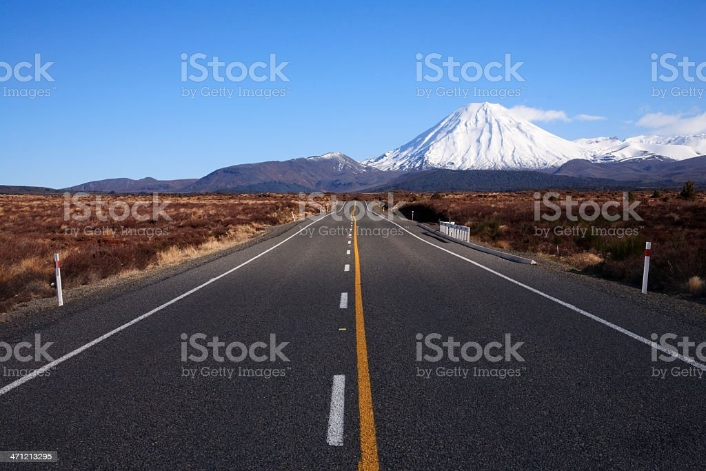 New Zealand Desert Road and Mount Ngauruhoe stock photo