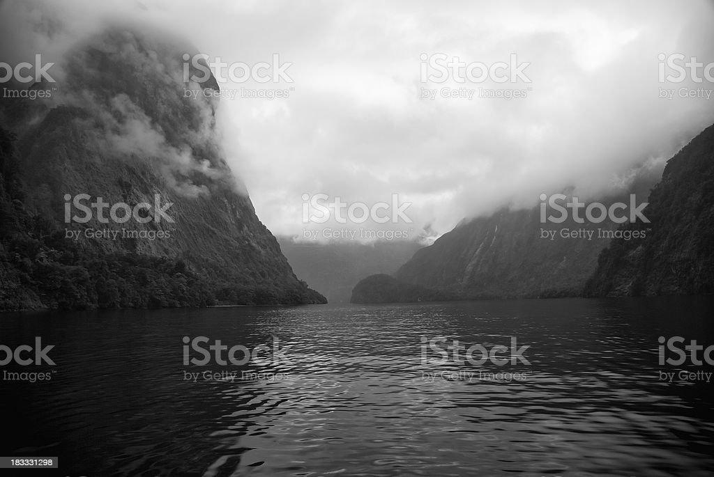 New Zealand - Doubtful Sound Under Morning Fog stock photo