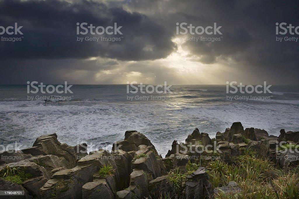 New Zealand - Dramatic Light at Punakaiki stock photo