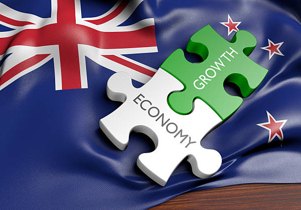 New Zealand economy and financial market growth concept, 3D rendering stock photo