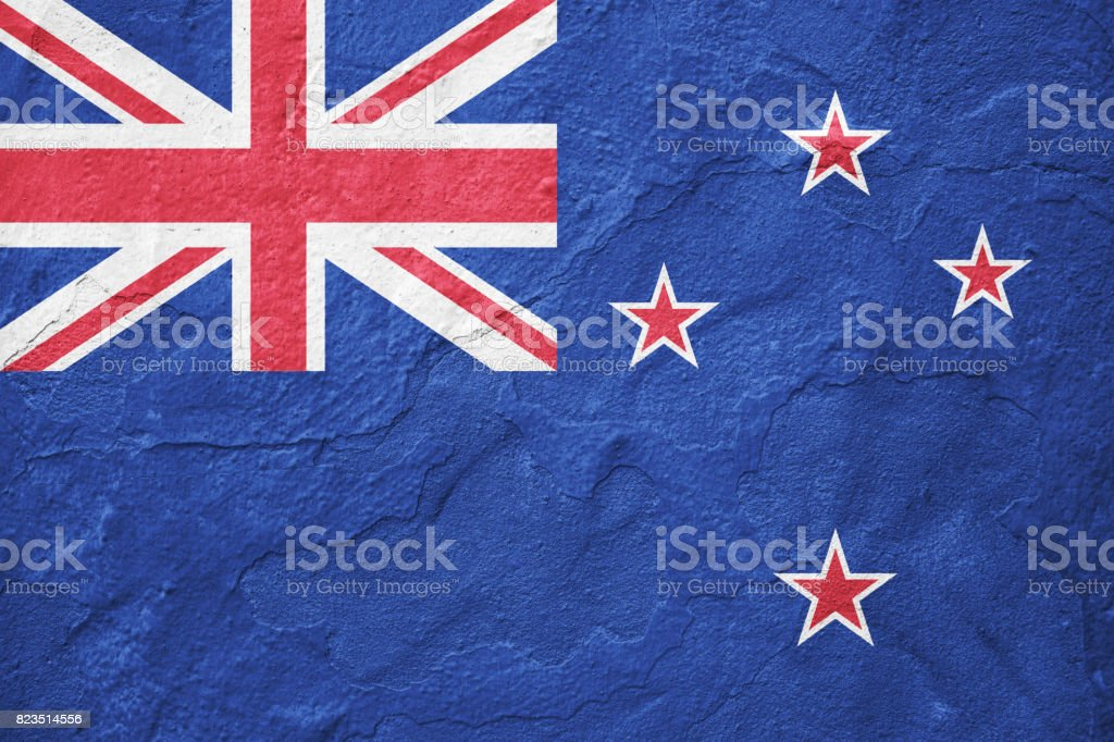 New Zealand Flag On Concrete Wall Stock Photo More Pictures Of