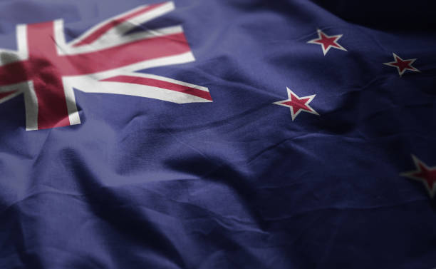 new zealand flag rumpled close up - new zealand flag stock photos and pictures