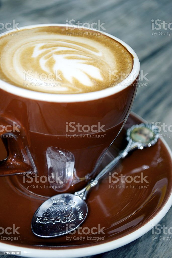 New Zealand 'Flat White' Coffee with Silver Fern motif royalty-free stock photo