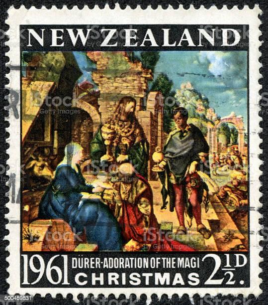 New Zealand greeting Christmas stamp 1961