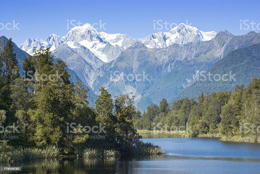 New Zealand Lake Matheson and Mount Cook royalty-free stock photo
