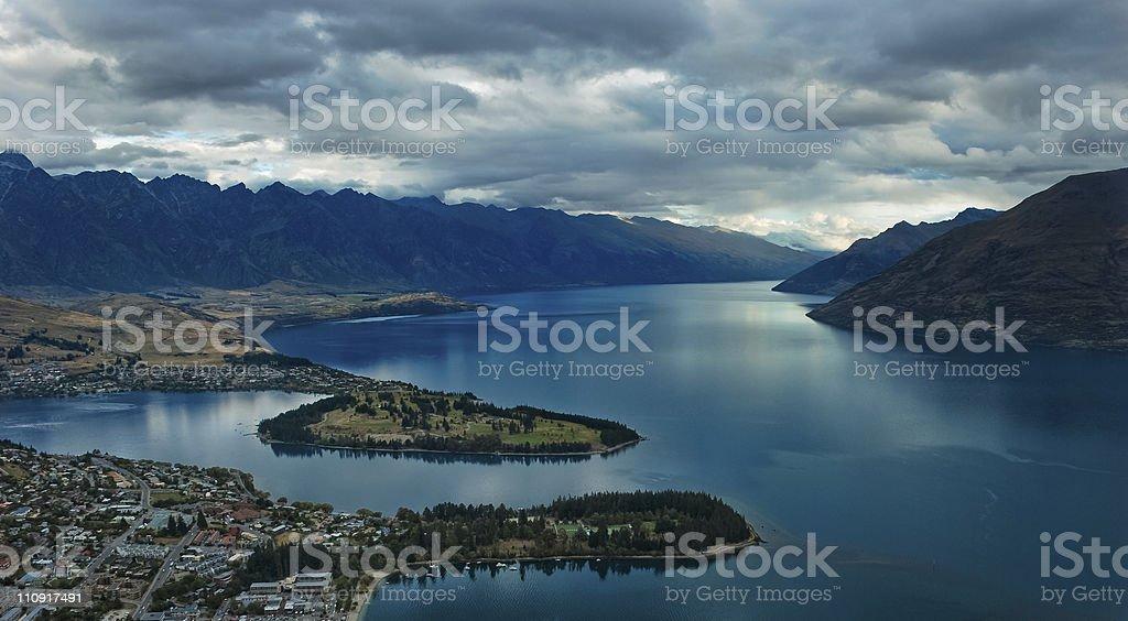 New Zealand Lake Wakatipu from atop the mountains stock photo