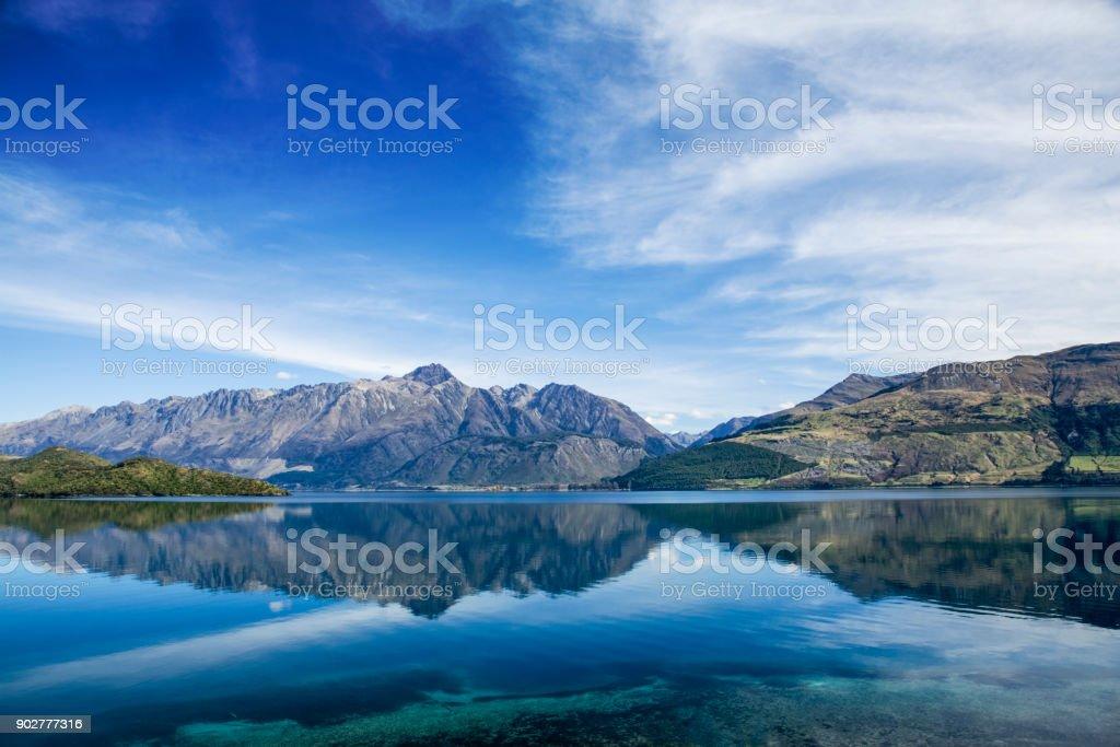 New Zealand Lake Wakatipu Reflection stock photo