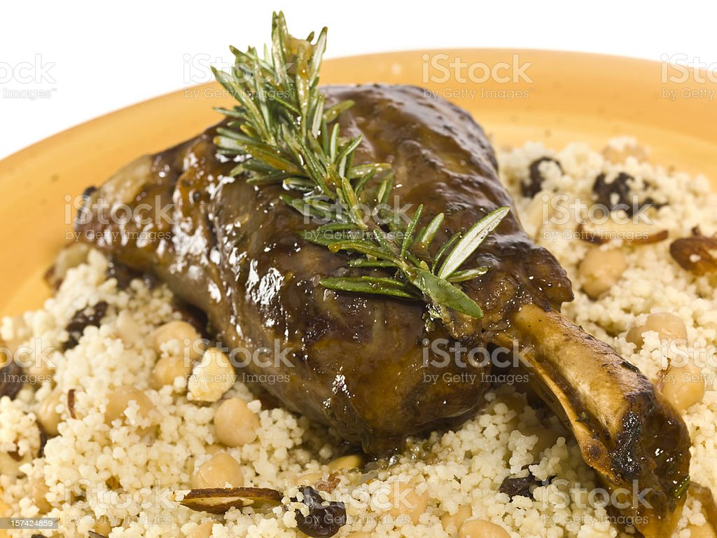 New Zealand Lamb Shank with Couscous royalty-free stock photo