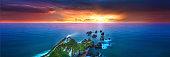 A New Zealand lighthouse at Sunrise