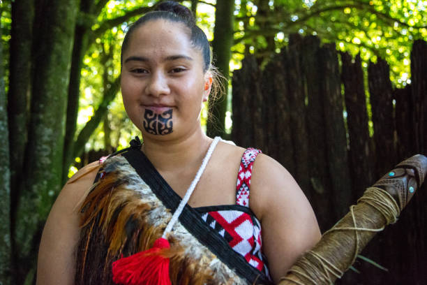 New Zealand: Maori Woman stock photo