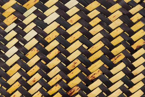 New Zealand Maori woven flax bag. stock photo