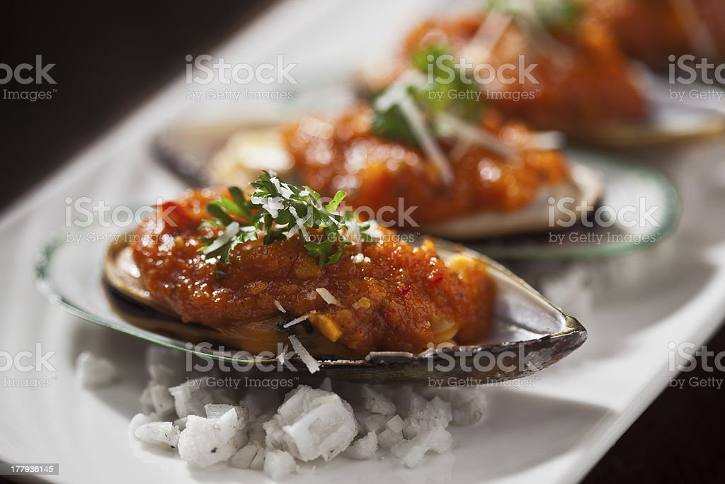New zealand mussels with tomato sauce royalty-free stock photo