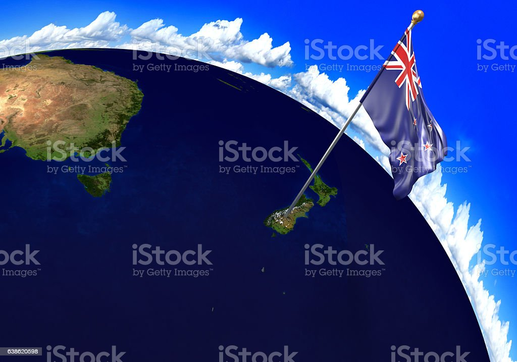 New Zealand national flag marking country location on world map stock photo