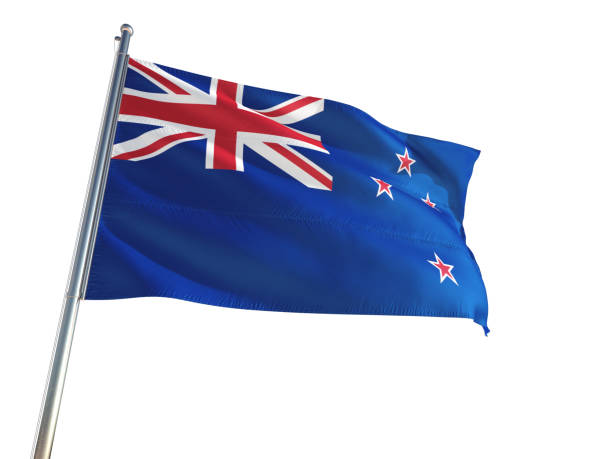 new zealand national flag waving in the wind, isolated white background. high definition - new zealand flag stock photos and pictures