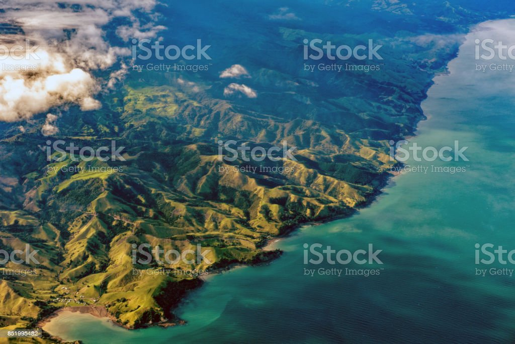 new zealand northern island aerial landscape stock photo