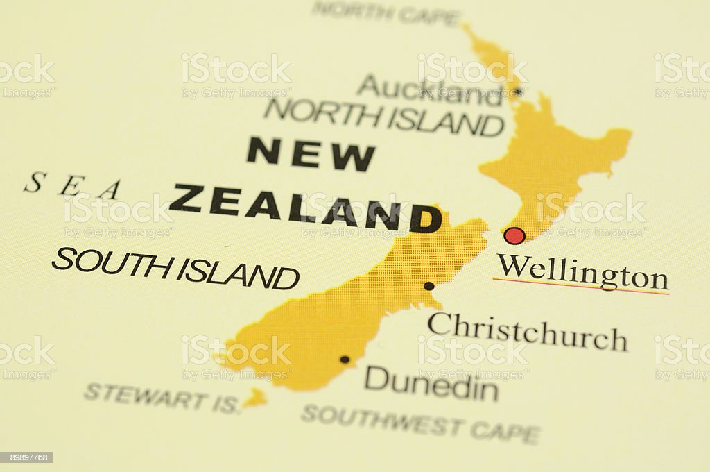New Zealand on map royalty-free stock photo