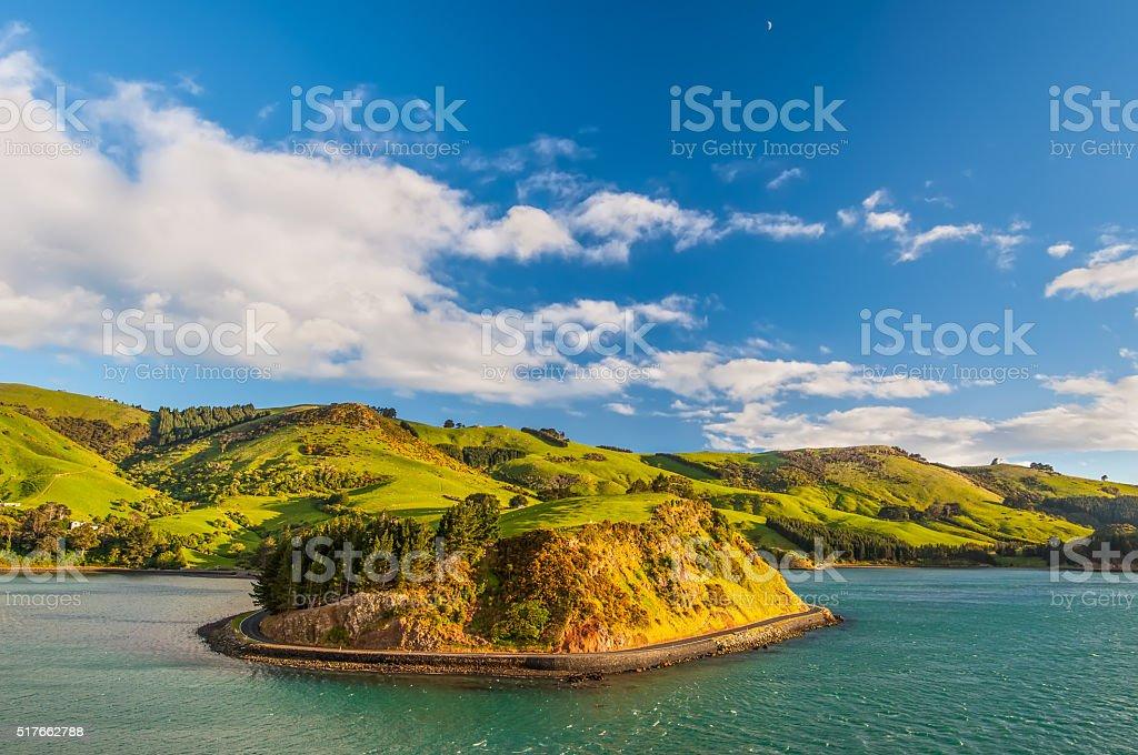 New Zealand Otago Region coastal landscape stock photo