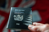New Zealand passport in selective focus effect held  with background flag of country