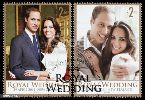 Sacramento, California, USA - April 25, 2011: Two 2011 New Zealand postage stamps commemorating the April 29, 2011 wedding of Prince William and Kate Middleton. The stamps contain engagement photographs of the royal couple taken by Mario Testino.