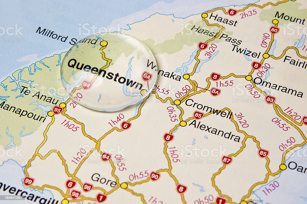 Map Of New Zealand Queenstown.New Zealand Queenstown Highlighted On A Map Stock Photo Download