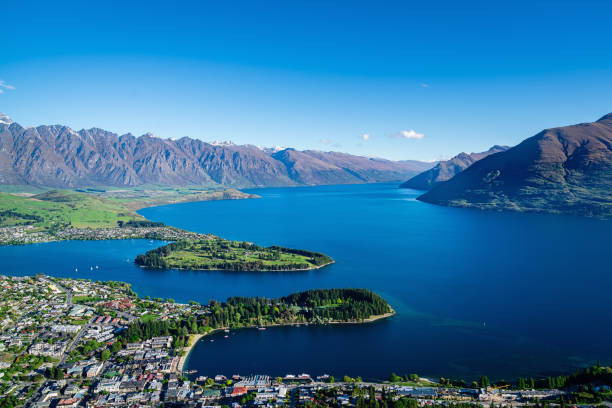 New Zealand Queenstown Summer Aerial View Remarkables stock photo
