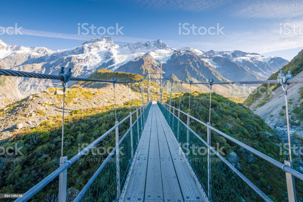 New Zealand scenic mountain landscape at Mount Cook  at summer stock photo