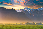 New Zealand scenic mountain landscape at Mount Cook  at summer