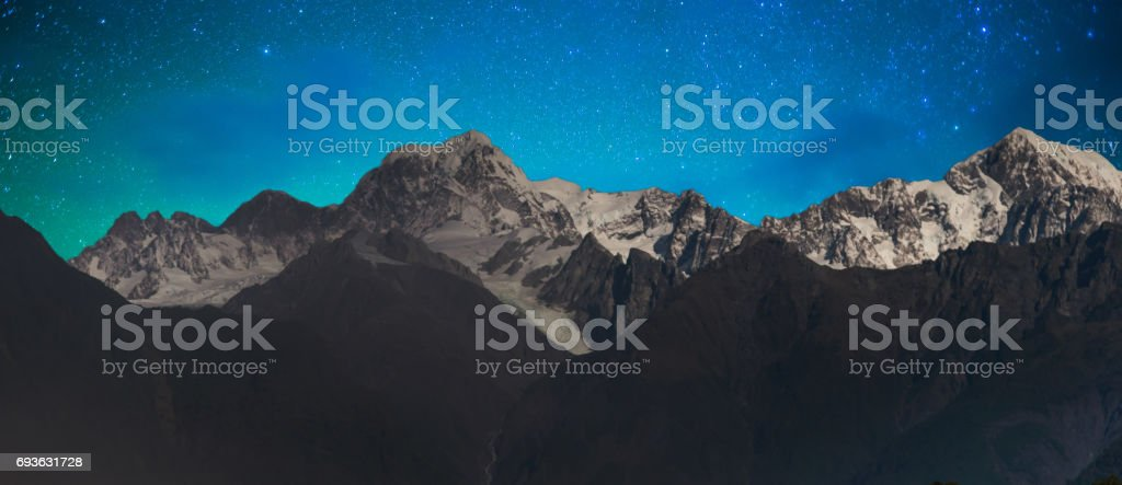 New Zealand scenic mountain landscape at Mount Cook  milky way stock photo