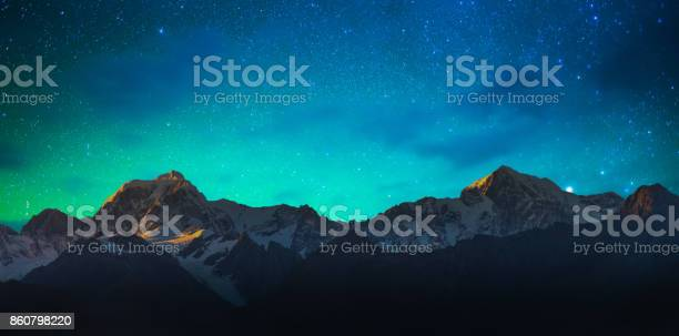 Photo of New Zealand scenic mountain landscape at Mount Cook  milky way