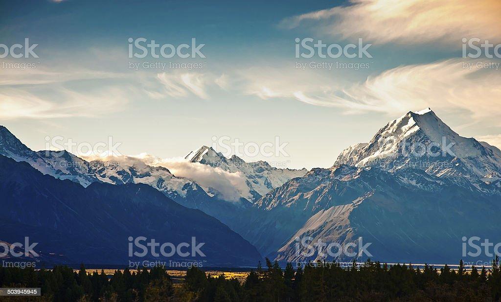New Zealand scenic mountain landscape shot at Mount Cook Nationa stock photo
