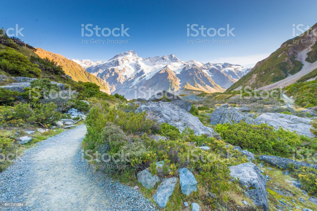 New Zealand scenic mountain landscape shot at Mount Cook stock photo