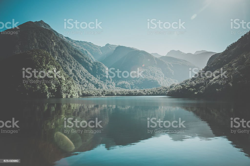 New Zealand, South Island Landscape Panorama, Doubtful Sound stock photo