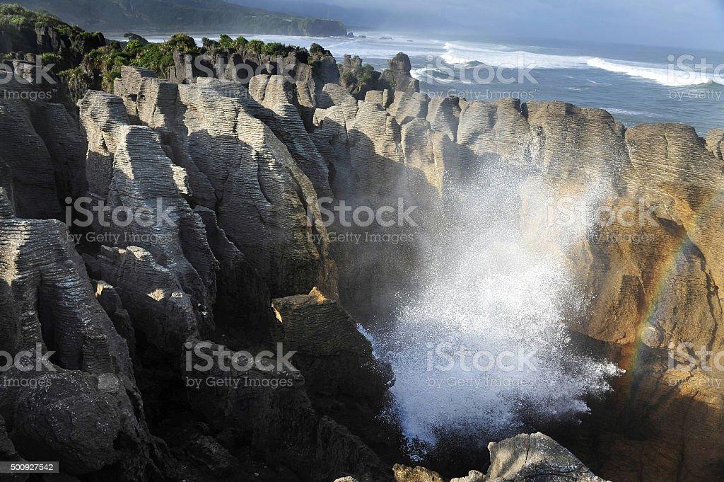 New Zealand South Island Pancake Rocks stock photo