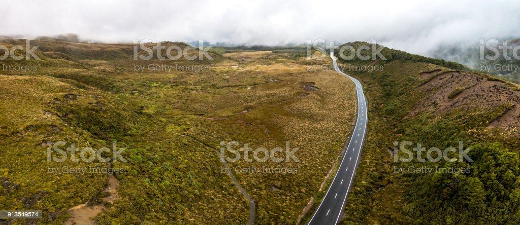 New Zealand Street near Mount Ruapehu, Tongariro National Park, New Zealand stock photo
