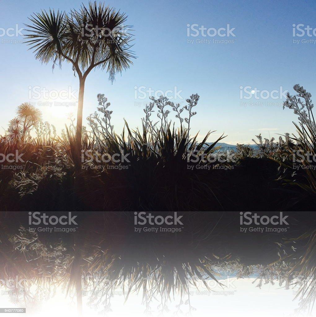 New Zealand Sunset & Flora stock photo