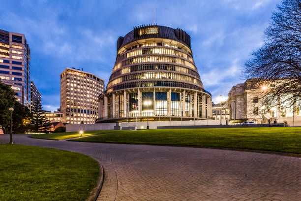 New Zealand The Beehive The Beehive, New Zealand's Parliament building, at twilight. wellington new zealand stock pictures, royalty-free photos & images