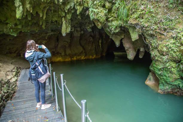 New Zealand: Waitomo Glowworm Caves stock photo