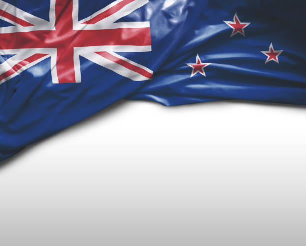 new zealand waving flag - new zealand flag stock photos and pictures