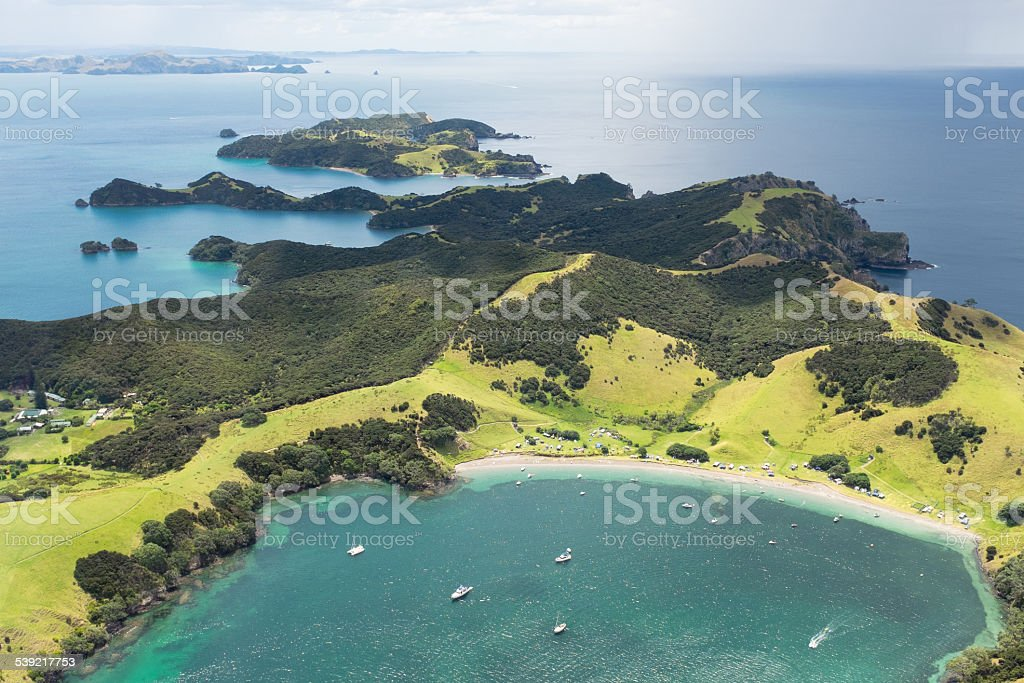New Zealand's Bay of Islands from the air stock photo