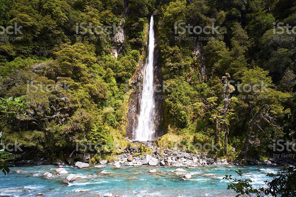 New Zealand's Thunder Creek Falls stock photo