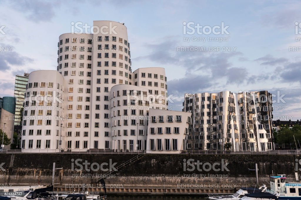 New Zollhof buildings in Media Harbor in Dusseldorf, Germany stock photo