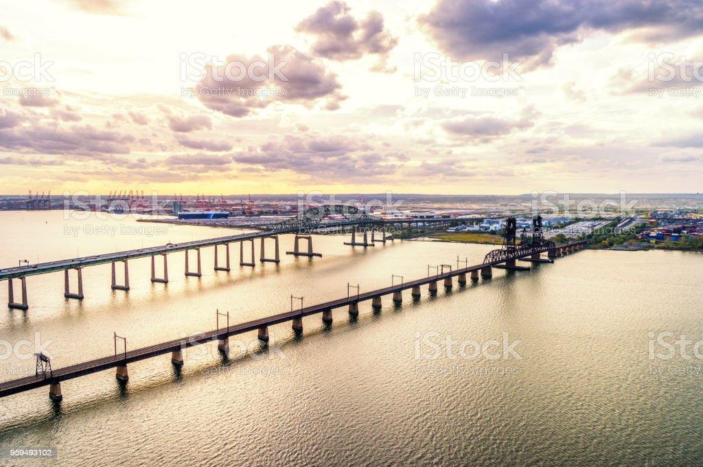 Newark Bay Bridge and Lehigh Valley Railroad Lift Bridge at sunset stock photo